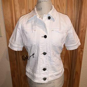CAbi Short Sleeve White Denim Jacket
